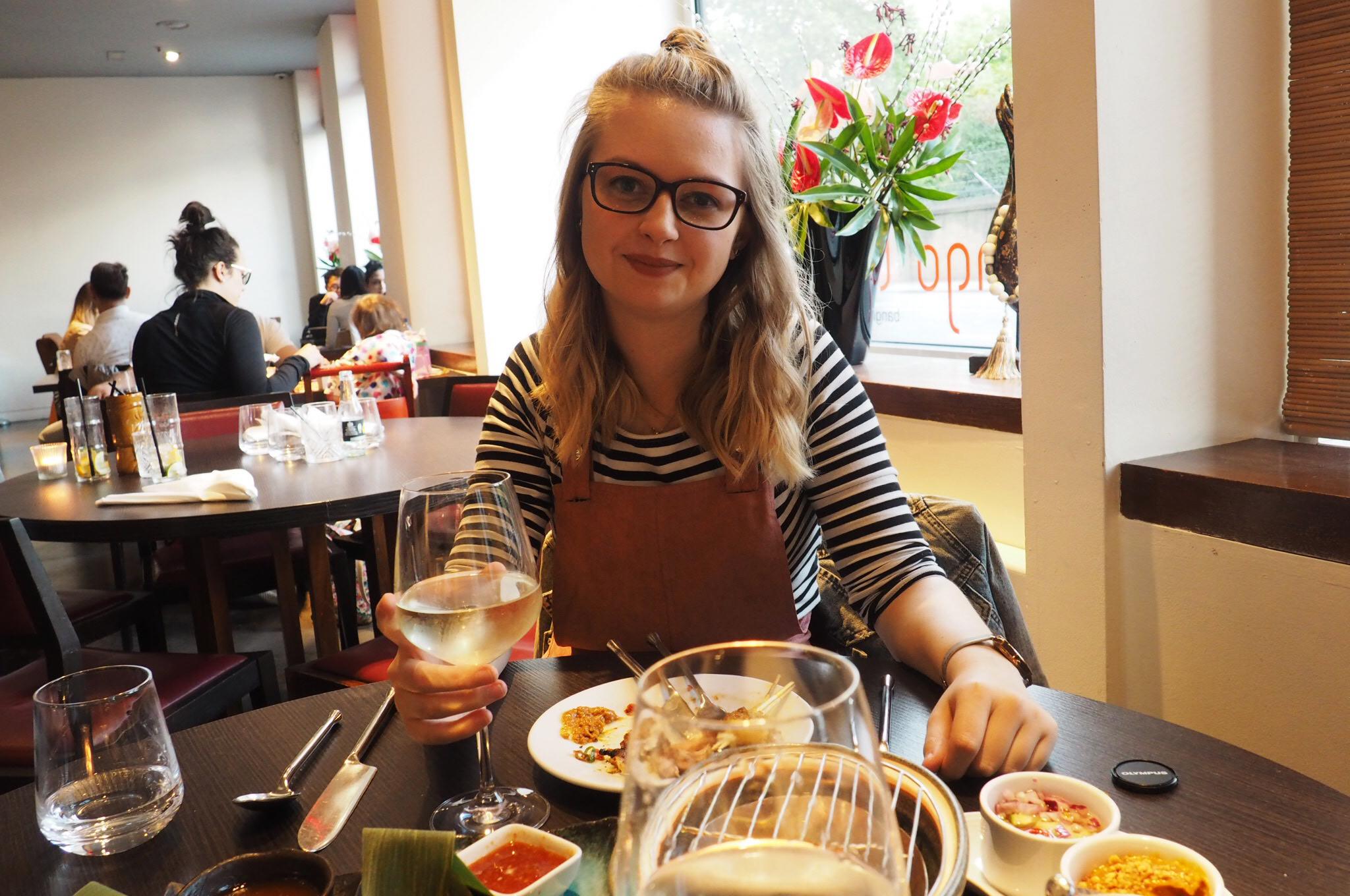Enjoying food at the Mango Tree Belgravia
