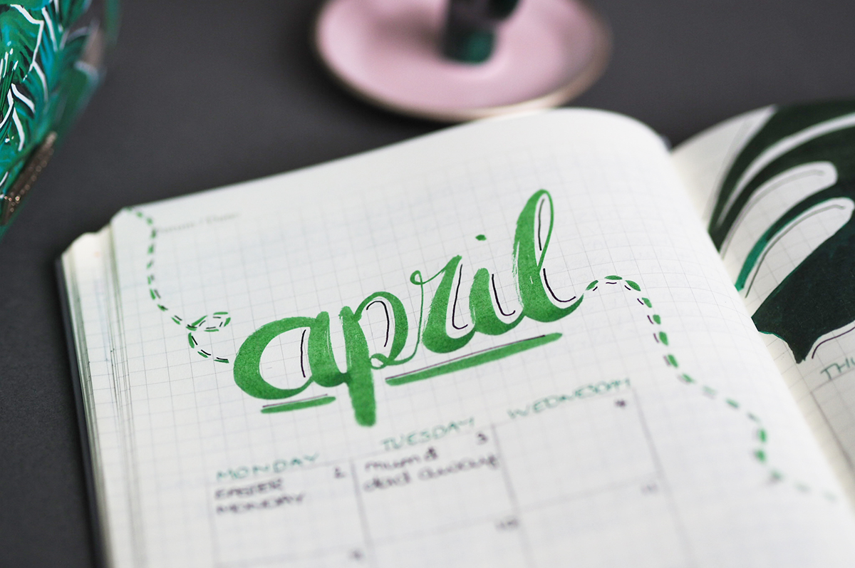 April 2018 bujo spread - lazythoughts.co.uk