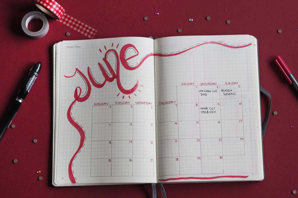 June 2018 bullet journal spreads