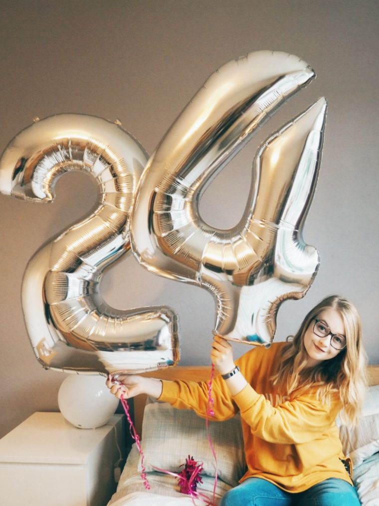 blonde girl holding balloons | turning 24
